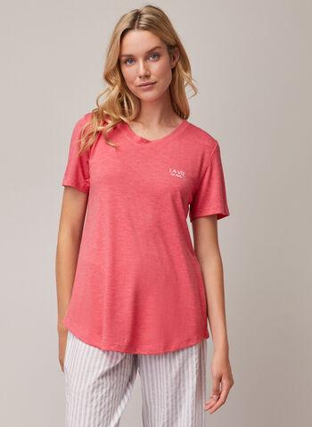 Appliqué Detail T-Shirt, Orange,  pyjamas, t-shirt, short sleeves, appliqué, spring summer 2020