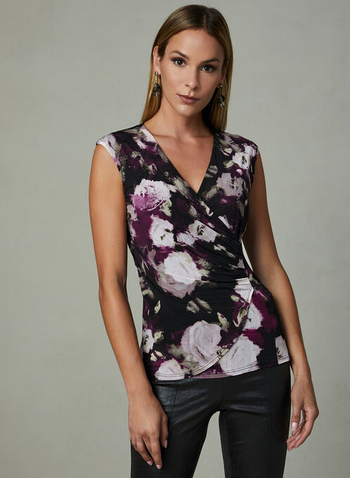 Floral Print Sleeveless Blouse, Red, hi-res