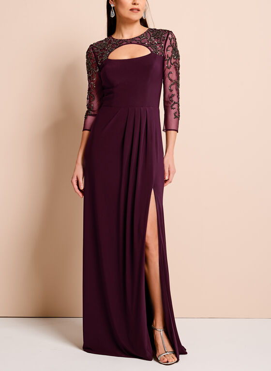 ¾ Sleeve Beaded Mesh Yoke Gown, Purple, hi-res