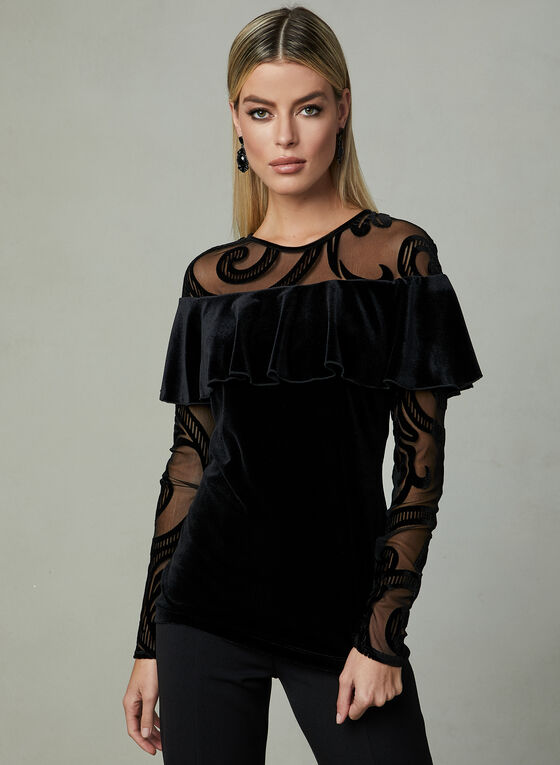 Frank Lyman - Burnout Velvet Top, Black, hi-res