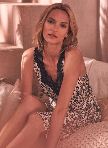 Robe de nuit à imprimé léopard, Noir,  printemps été 2021, pyjama, robe de nuit, jaquette, dentelle, imprimé, motif, léopard, col en V, encolure en V, sans manches, douillet, confortable, doux, extensible