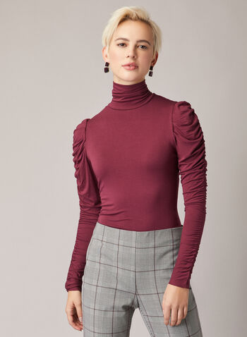 Ruched Sleeve Mock Neck Top , Purple,  top, mock neck, ruched sleeves, viscose, fall winter 2020