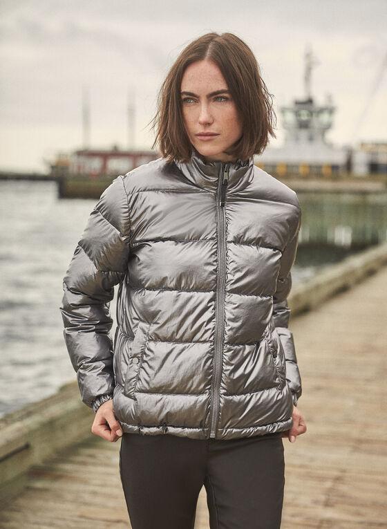 Metallic Puffer Coat, Silver