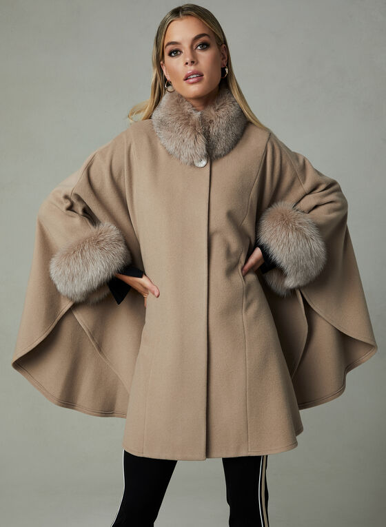 Mallia – Fox Fur Trim Wool Cape, Brown, hi-res