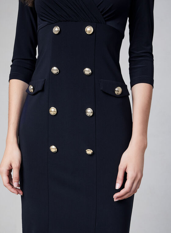 Joseph Ribkoff - Military Button Dress, Blue, hi-res