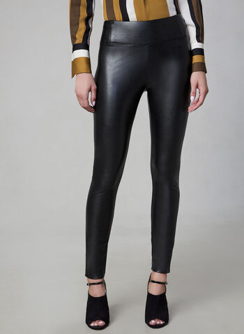 Vegan Leather Leggings, Black, hi-res,  fall winter 2019, vegan, faux leather, pull-on leggings, slim leg