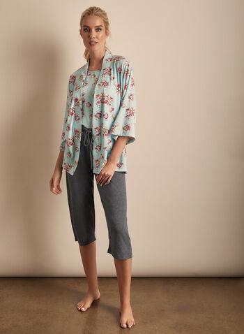 Comfort & Co. - Three-Piece Pyjama Set, Blue,  pyjamas, sleepwear, floral, stretchy, three-piece, robe, tank top, capris, drawstring, pull-on, spring summer 2020