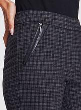 Plaid Zipper Trim Straight Leg Pull-On Pants, Black, hi-res