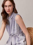 Sleeveless Shirt Collar Blouse, Blue