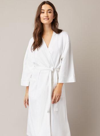 Peignoir long en tricot texturé, Blanc,  automne hiver 2020, pyjama, peignoir, robe de chambre