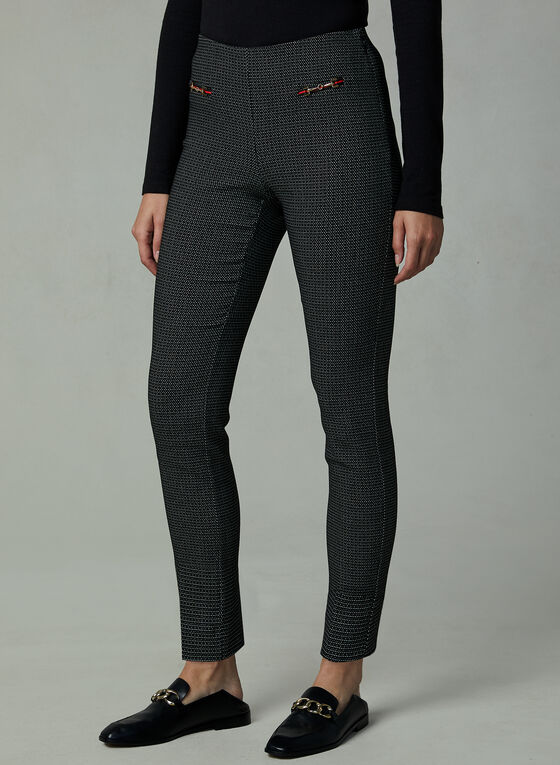 Slim Leg Jacquard Pants, Black