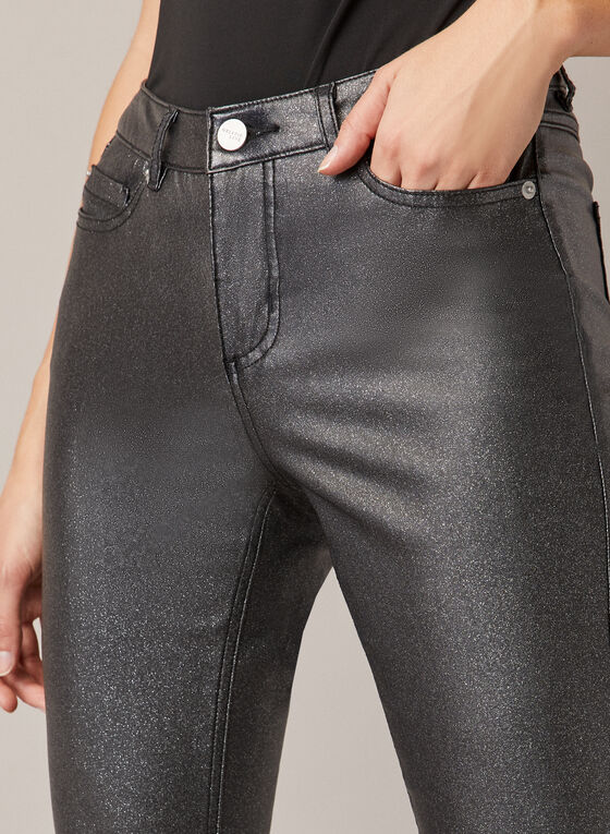 Slim Fit Jeans With Glitter, Grey