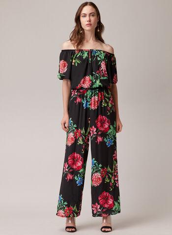 Joseph Ribkoff - Combinaison fleurie col Bardot, Noir,  combinaison, col bardot, mousseline, fleurs, jambe large, printemps été 2020