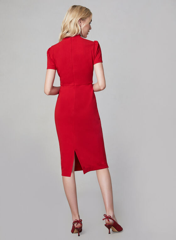 Maggy London - Tie Detail Sheath Dress, Red, hi-res