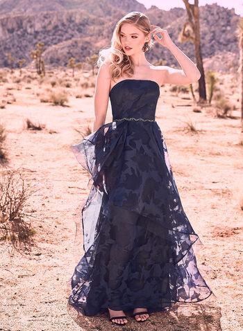 Terani Couture - Burnout Organza Gown, Blue, hi-res