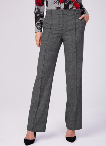 Plaid Print Wide Leg Pants, Black, hi-res