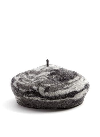 Swirl Print Wool Beret, Grey, hi-res