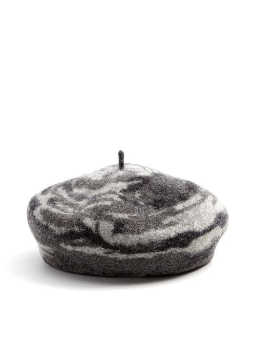 Béret en laine à motif tourbillon, Gris, hi-res