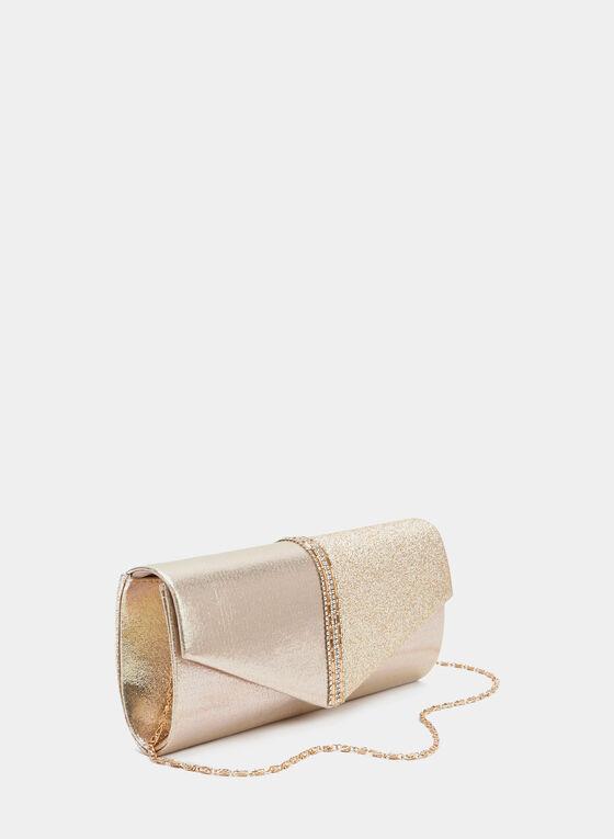 Crystal Embellished Envelope Clutch, Gold, hi-res