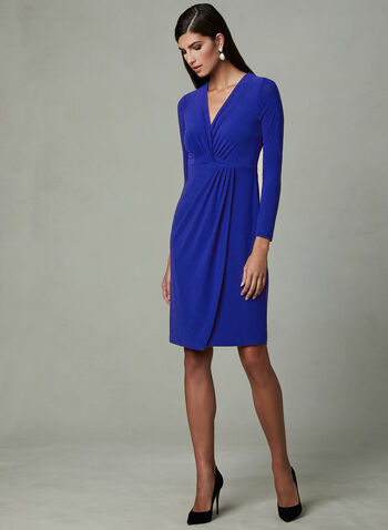Maggy London - Faux Wrap Dress, Blue, hi-res