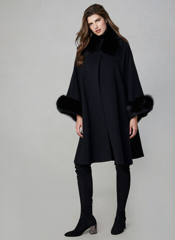 Mallia - Long Wool Blend Cape, Black, hi-res,  poncho, fall winter 2019, fox fur, made in Canada, wool, cashmere, cape, jacket, coat, outerwear