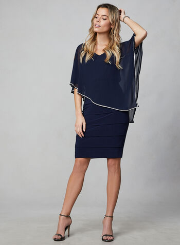 Frank Lyman - Chiffon Poncho Dress, Blue,  canada, poncho, dress, chiffon dress, chiffon, jersey dress, jersey, rhinestones, holiday, fall 2019, winter 2019