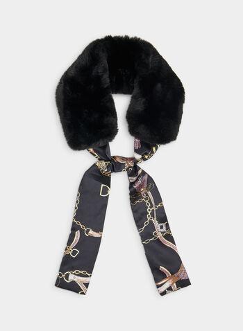 Écharpe à fausse fourrure et motif chaînes, Noir,  écharpe, fausse fourrure, chaînes, ruban, automne hiver 2019
