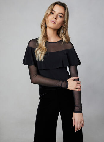 Sheer Sleeves Top, Black,  canada, top, long sleeves, sheer top, mesh top, ruffles, jersey, fall 2019, winter 2019