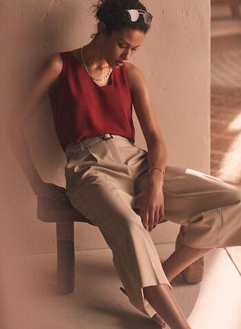 Pantalon gaucho ceinturé, Blanc cassé,  pantalon, pull-on, gaucho, ceinture, pinces, printemps été 2020