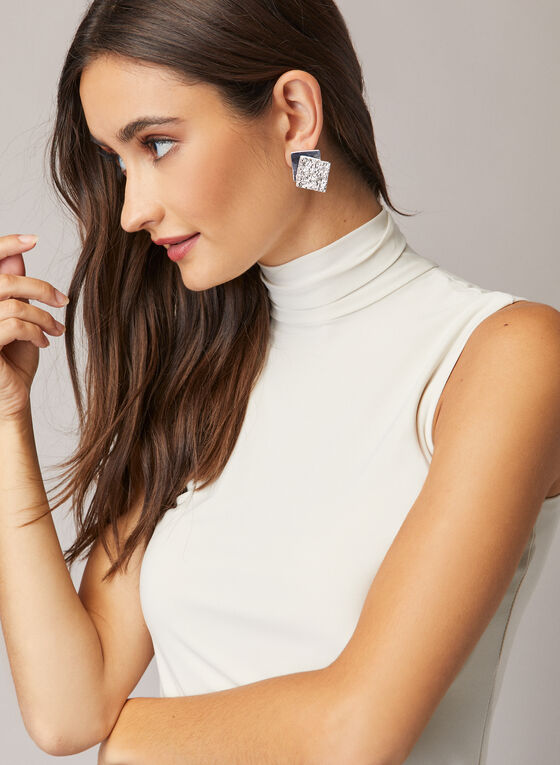 Sleeveless Turtleneck Top, Off White