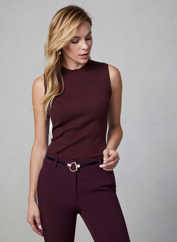 Sleeveless Ribbed Knit Top, Purple,  sleeveless, knit, mock neck, ribbed, fall 2019, winter 2019