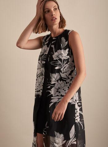 Joseph Ribkoff - Floral Chiffon & Jersey Dress, Black,  dress, chiffon, jersey, floral, round neck, pleated, spring summer 2020