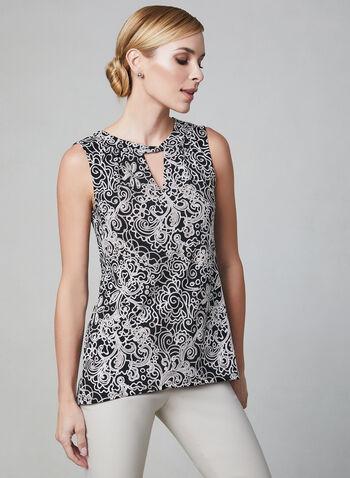 Haut sans manches à motif tapisserie, Blanc,  printemps 2019, torsadé, ajour, jersey, texturé