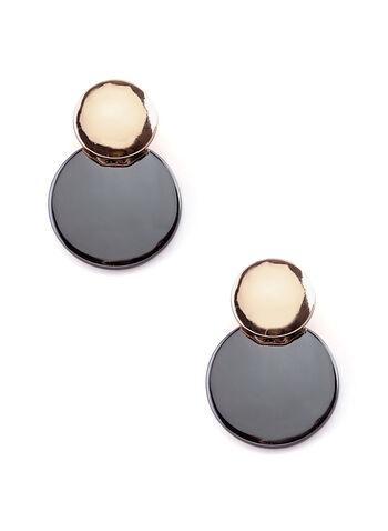Two-Tone Disc Earrings, Grey, hi-res