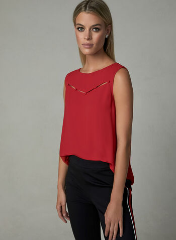 Boat Neck Sleeveless Blouse, Red, hi-res