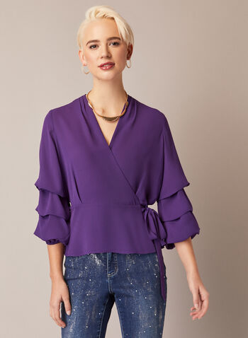 Blouse With Ruffled Sleeves, Purple,  holiday, fall winter 2020, blouse, top, wrap, tie, ¾ sleeves, 3/4 sleeves, matte
