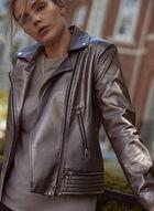 Zip Front Motorcycle Jacket, Beige
