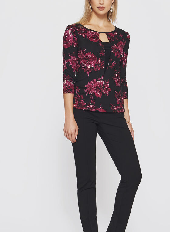 Floral Print ¾ Sleeve Top, Red, hi-res