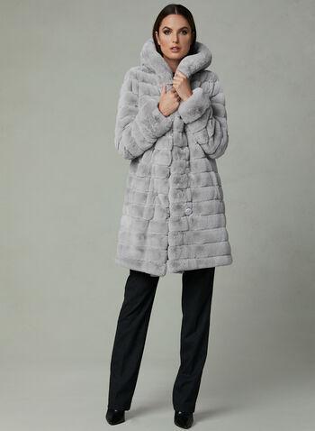 Nuage - Manteau réversible avec fausse fourrure, Argent, hi-res