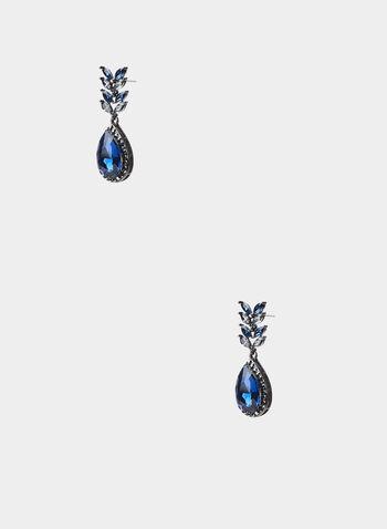 Boucles d'oreilles à pendant goutte, Bleu,  boucles d'oreilles, goutte, pierre facettée, cristaux, automne hiver 2019