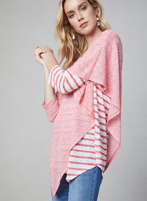 Pure Essence - Stripe Print Poncho Top, Red, hi-res