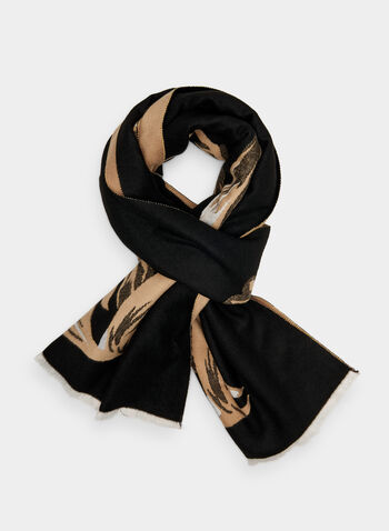 Vince Camuto - Tulip Print Scarf, Black,  floral print, polyester, fall 2019, winter 2019