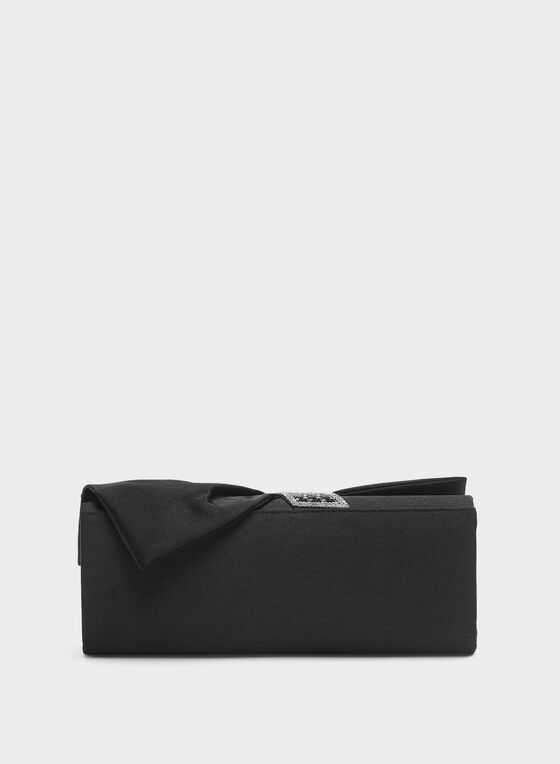Crystal Detail Satin Drapé Clutch, Black, hi-res