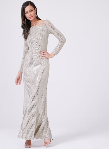 Cachet – Off The Shoulder Sequin Dress, Silver, hi-res