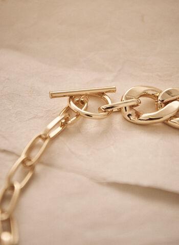 Collier court à maillons larges, Or,  bijou, accessoire, collier, court, doré, métal, maillons larges, mousqueton, printemps été 2021