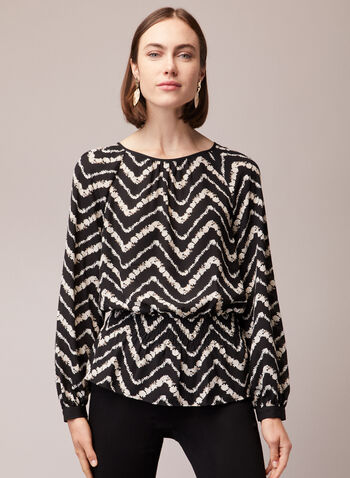 Chevron Print Peplum Blouse, Black,  blouse, peplum, chevron, abstract, geometric, crepe, balloon sleeves, smocked, fall winter 2020