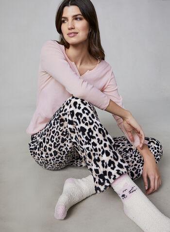 Pillow Talk - Pyjama 2 pièces avec chaussettes, Rose,  pyjama, haut, pantalon, léopard, chat, peluche, chaussette, manches 3/4, automne hiver 2019