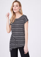 Stripped Blouse With Adjustable Knot, Black, hi-res