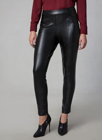 Faux Leather Pants, Black,  vegan leather, pull-on, slim leg, fall 2019, winter 2019
