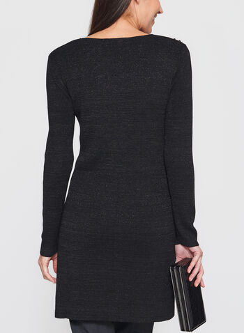Studded Glitter Tunic Sweater, Black, hi-res